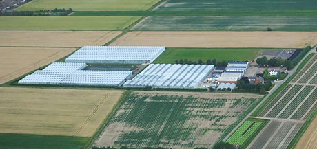 An aerial view of E M Cole Farms site